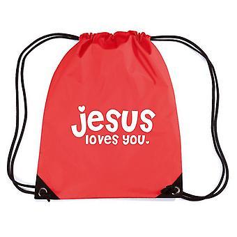 Zainetto rosso fun2754 jesus loves you tosser
