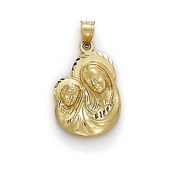 14k Yellow Gold Large Mary and for boys or girls Pendant Necklace - 2.0 Grams