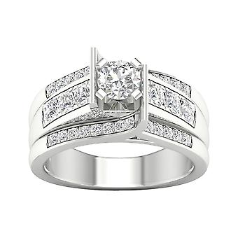 Igi gecertificeerd 14k witgoud 1.25 ct diamant klassieke verlovingsring set
