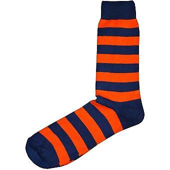 Chaussettes à rayures cerclées de bassin et brune - Orange/Navy