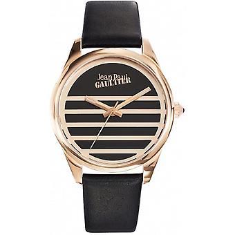 Jean-Paul Gaultier se 8502410-skinn svart boks armbånd stål dor Rose kvinner