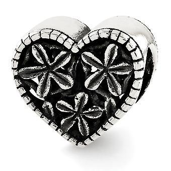 925 Sterling Silver finish Reflektioner Love Heart With Flowers Bead Charm Hängande Halsband Smycken Gåvor för kvinnor