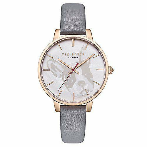 Ted Baker French Bulldog Rose Gold Plated Grey Leather Strap Ladies Watch TE50272012 38mm