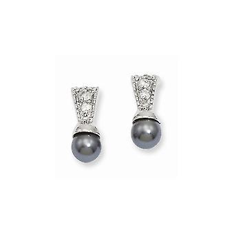 Gift Boxed Post Oorbellen Rhodium verguld Black Glass Pearl CZ Cubic Zirconia Gesimuleerde Diamond Oorbellen Sieraden Geschenken voor