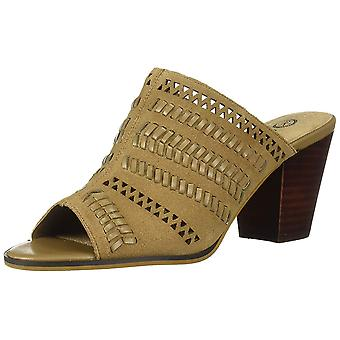 Bella Vita Women's Koraline Slide Sandal on Block Heel Shoe, Desert Suede Lea...