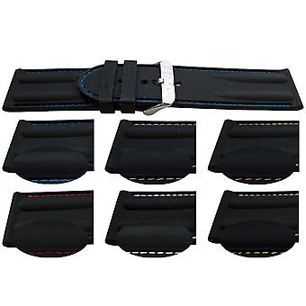 Rubber watch strap colour stitched heavy grade with stainless steel buckle 24mm and 26mm