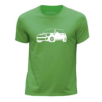 STUFF4 Boy's Round Neck T-Shirt/Stencil Car Art / Cooper S/Green