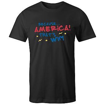 Boys Crew Neck Tee Lyhythihainen Miesten T-paita- Koska.. Amerikassa! Että & apos;
