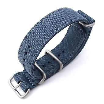 Strapcode n.a.t.o watch strap miltat 20mm washed canvas zulu navy blue double thickness watch strap, lockstitch round hole