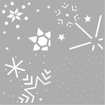 Pronty Mask kaavain Layer - Snowstars (4x) 470.850.006 15x15cm