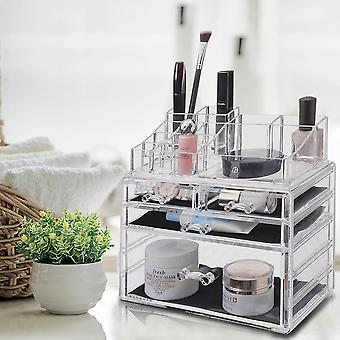 OnDisplay Cosmetic Makeup and Jewelry Storage Case Display - 4 Drawer Design - Perfect for Vanity, Bathroom Counter, or Dresser