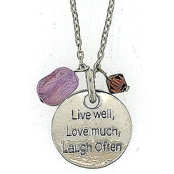 TOC 'Live Well, Love Much, Laugh Often' Purple Charm Pendant Necklace 18