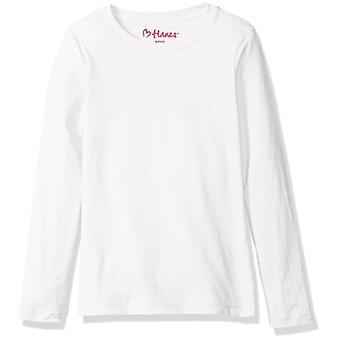 Hanes Big Girls' Comfortsoft Long Sleeve Tee, White, L, White, Size Large
