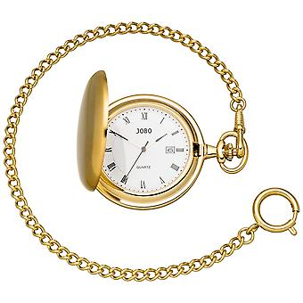JOBO Pocket Watch Quartz Analog Plated Date Jump Lid