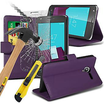 i-Tronixs Vodafone Smart mini 7 PU Leather Wallet Flip Case + Glass Screen Protector -Purple