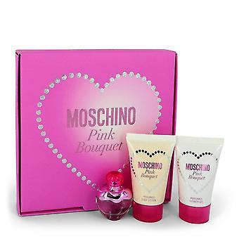 Presente de buquê rosa Moschino Definido por Moschino .17 oz Mini EDT + 0,8 oz Body Lotion + 0,8 oz Shower Gel