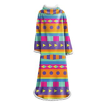 Geometric patterns blanket with sleeves Polyester multifunctional blanket Warm portable