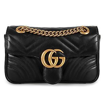 Gucci Marmont Mini Leather Shoulder Bag in Black
