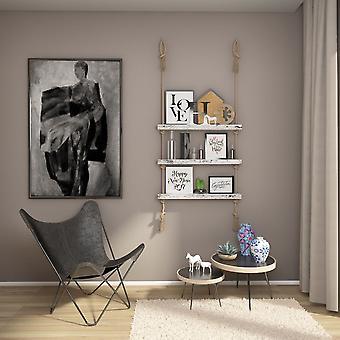 Halatli Regal weiße Farbe, Ecru Holz, Juta, L75xP9xA125 cm