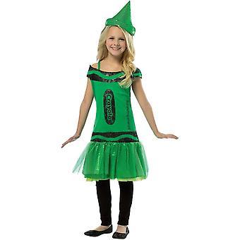 Crayola penna paljett grön barn kostym