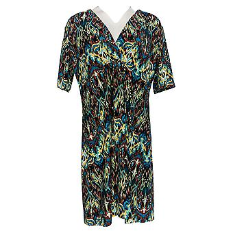 Masseys Women's Top V-Neck Gathered Tunic Berry/Brown/Teal/Multi