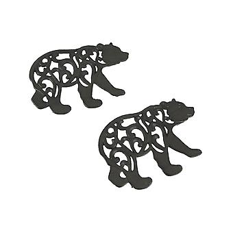 Set of 2 Black Enamel Cast Iron Bear Kitchen Trivets Lodge Decor