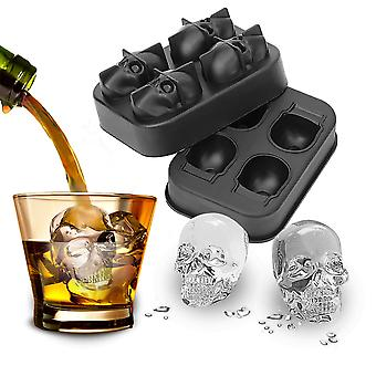 Forma do crânio 3D Silicone Mold Ice Cube Maker