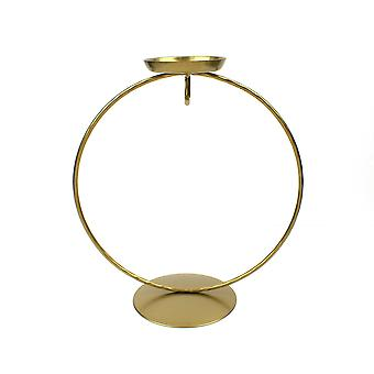 Gold Circular Metal Tealight Holder & Bauble Display Stand - 18cm