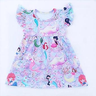 Baby girls mermaid printed milk silk dress