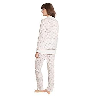 Féraud High Class 3201190-16800 Women's Ivory-Greige Spotted Cotton Pyjama Set