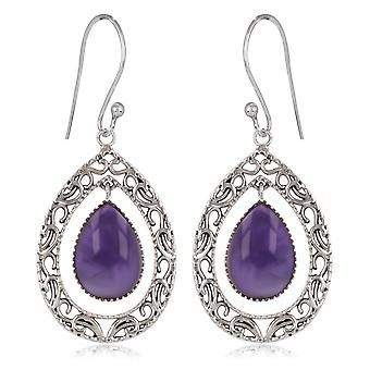 ADEN 925 Sterling Silver Amethyst Pear Shape Earrings (id 3892)