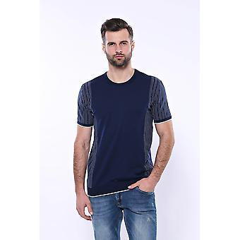 Cirkel hals mönstrad marinblå stickad t-shirt