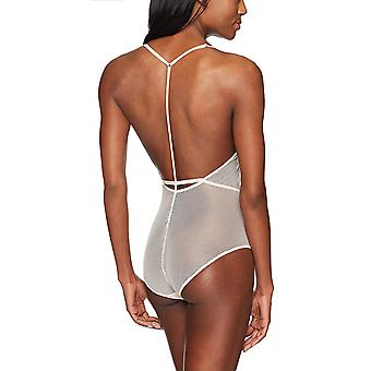 Mae Women's T-Back Lace And Mesh Bodysuit, Crème De Peche, Small