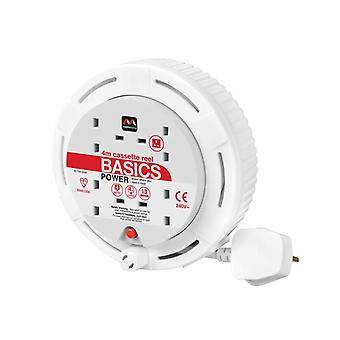 Masterplug MSTSCT04134W Cassette Reel 4M 13A 4 Socket Thermal Cutout White