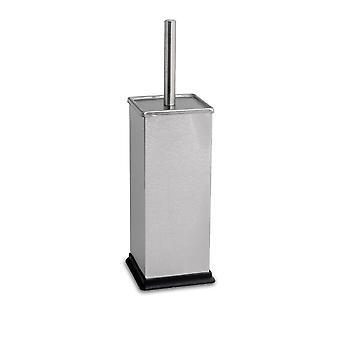Square Steel Bathroom Toilet Brush & Holder Set - Brushed Metal