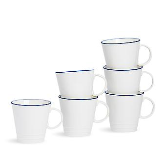 Nicola Spring 6 Piece Country Farmhouse White Coffee Mug Set with Blue Rims - 350ml