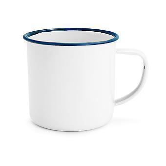 Rink Drink White Émail Tea / Coffee Mugs - 350ml - Blue Trim