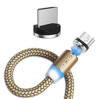 USLION Micro-USB Magneettinen latauskaapeli 3 metriä - Punottu nailonlaturi Data Cable Android Gold