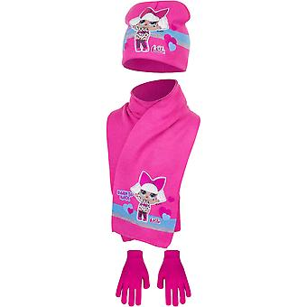 Lol surprise girls hat scarf and gloves born to rock lol4348hsg