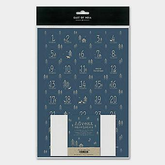 East of India advent calendar 24 envelopes Sheet stickers Navy Trees DIY Advent