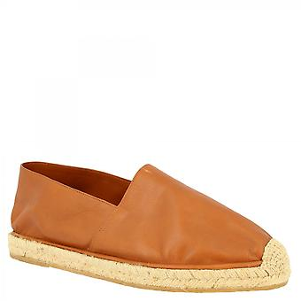 Leonardo Shoes Men's handmade slip-on round toe espadrilles in tan calf and napa leather