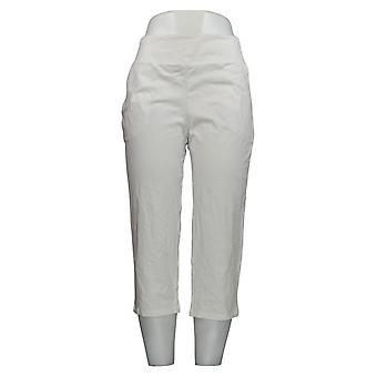 Women with Control Women's Petite Pants Tummy Control Crop White A292370