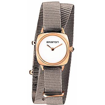 Briston Clubmaster Lady Double Wrap Watch - Taupe/White/Rose Gold