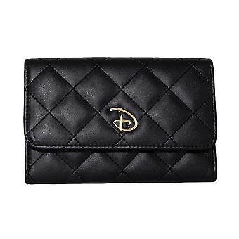 Disney Signature Logo Black Fold Over Quilted Clutch Purse