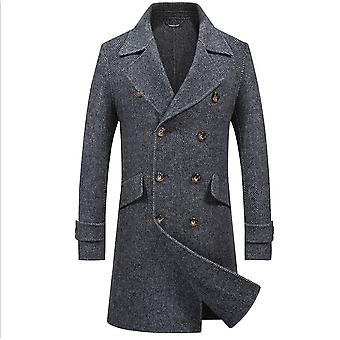 Mænd & apos;s Winter Wool Blend Trench Slim Fit Long Top Duble Breasted Pea Stilfuld Over Coat