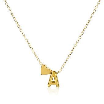 Catena collana placcata in oro con cuore e lettera