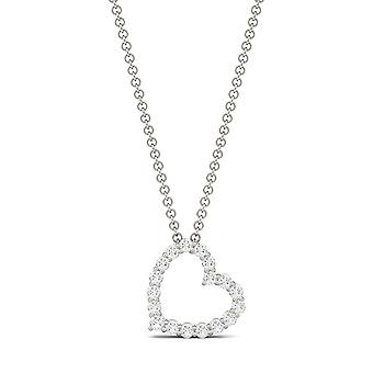 14K White Gold Moissanite by Charles & Colvard 1.7mm Round Pendant Necklace, 0.28cttw DEW