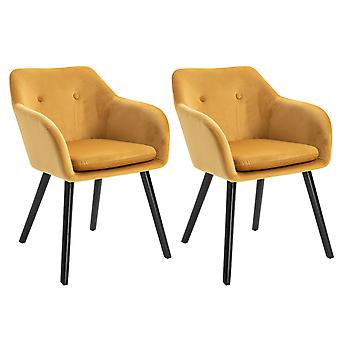 HOMCOM Modern Upholstered Fabric Bucket Seat Dining Arm Chairs Padded Set of 2 Modern Style Dining Room Living Room Furniture - Yellow