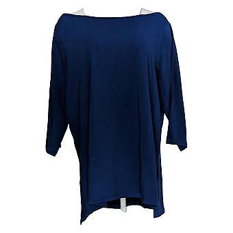 Isaac Mizrahi Live! Women's Top 3/4 Slv W/ Cross Back Detail Blue A376620
