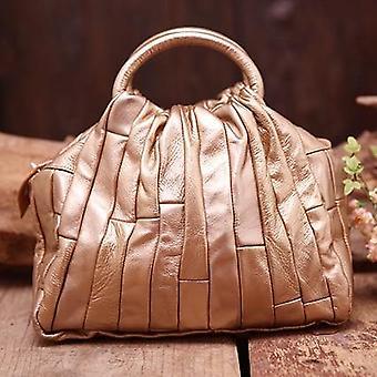 Real Leather Tote Handbag - Genuine Cowhide Handmade Patchwork Elegant